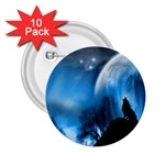 Howling Wolf Planet Night Fantasy 2.25  Button (10 pack)
