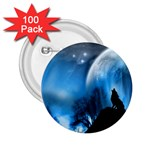 Howling Wolf Planet Night Fantasy 2.25  Button (100 pack)