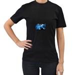 Howling Wolf Planet Night Fantasy Women s Black T-Shirt