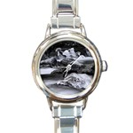 Dark Gothic Winter River of Ice Round Italian Charm Watch