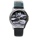 Dark Gothic Winter River of Ice Round Metal Watch