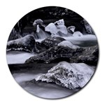 Dark Gothic Winter River of Ice Round Mousepad