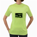 Dark Gothic Winter River of Ice Women s Green T-Shirt