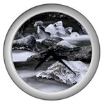 Dark Gothic Winter River of Ice Wall Clock (Silver)