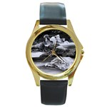 Dark Gothic Winter River of Ice Round Gold Metal Watch