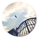 Lonely Crow at Palace Gate Scenic Sky Magnet 5  (Round)