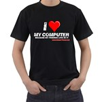 I love my computer Black T-Shirt