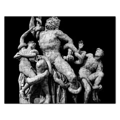 Laocoon Sculpture Over Black Rectangular Jigsaw Puzzl by dflcprintsclothing