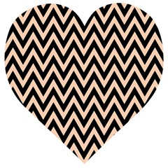 Chevron Style Collection - Soft Apricot Orange & Black Wooden Puzzle Heart by FEMCreations