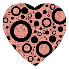 Circle Party Collection - Blooming Dahlia Red & Black Jigsaw Puzzle (heart) by FEMCreations