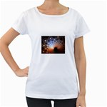 Peacock Bubbles Fractal Fantasy Maternity White T-Shirt