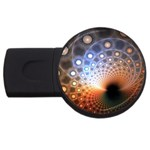 Peacock Bubbles Fractal Fantasy USB Flash Drive Round (4 GB)