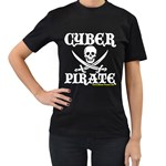 Cyber Pirate  Women s Black T-Shirt