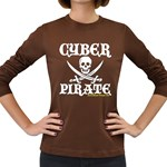 Cyber Pirate  Women s Long Sleeve Dark T-Shirt