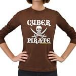 Cyber Pirate  Women s Long Sleeve Dark T-Shirt