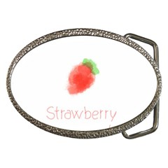 Strawbery Fruit Watercolor Painted Belt Buckles by Mariart