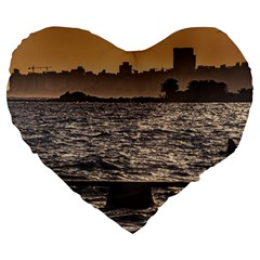 Cityscape Coastal Scene Montevideo Uruguay Large 19  Premium Heart Shape Cushions by dflcprintsclothing