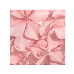 Coral Colored Hortensias Floral Photo Small Satin Scarf (square)