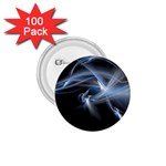 Blue on Black Gothic Sci Fi Fractal 1.75  Button (100 pack)