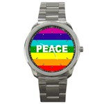 PEACE Rainbow Flag No War Battle Sport Metal Watch
