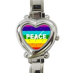 PEACE Rainbow Flag No War Battle Heart Charm Watch