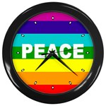 PEACE Rainbow Flag No War Battle Wall Clock