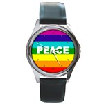 PEACE Rainbow Flag No War Battle Round Metal Watch