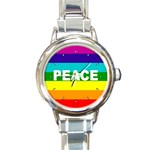 PEACE Rainbow Flag No War Battle Round Charm Watch