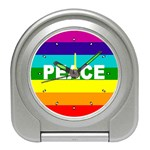 PEACE Rainbow Flag No War Battle Desk Alarm Clock