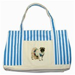 Pug In A Dress ^ Striped Blue Tote Bag
