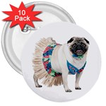 Pug In A Dress ^ 3  Button (10 pack)