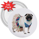 Pug In A Dress ^ 3  Button (100 pack)