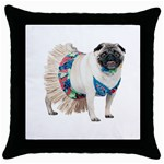 Pug In A Dress ^ Throw Pillow Case (Black)