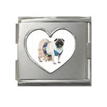 Pug In A Dress ^ Mega Link Heart Italian Charm (18mm)