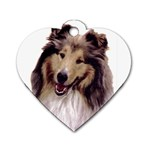 Collie ^ Dog Tag Heart Necklace (Two Sides)
