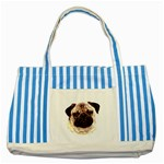 Pug ^ Striped Blue Tote Bag