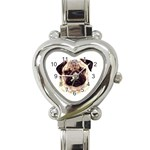 Pug ^ Heart Italian Charm Watch