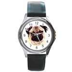 Pug ^ Round Metal Watch