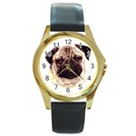 Pug ^ Round Gold Metal Watch