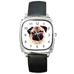 Pug ^ Square Metal Watch
