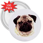 Pug ^ 3  Button (100 pack)