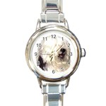 Old English Sheepdog ^ Round Italian Charm Watch