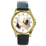Old English Sheepdog ^ Round Gold Metal Watch
