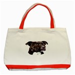 Staffie Black ^ Classic Tote Bag (Red)