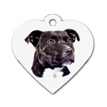 Staffie Black ^ Dog Tag Heart Necklace (Two Sides)