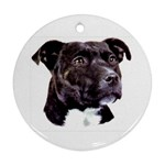 Staffie Black ^ Round Ornament (Two Sides)