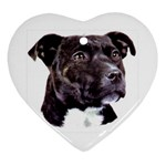 Staffie Black ^ Heart Ornament (Two Sides)