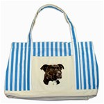 Staffie Black ^ Striped Blue Tote Bag