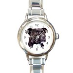 Staffie Black ^ Round Italian Charm Watch
