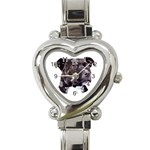 Staffie Black ^ Heart Italian Charm Watch